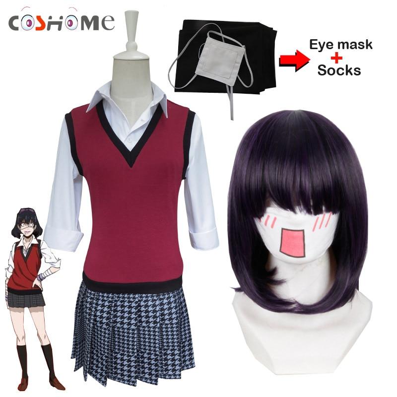 Coshome Kakegurui Midari Ikishima Cosplay Wigs Costumes School Girls Uniforms Vest Dress With Eye Mask&Socks For Halloween Party
