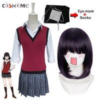 Coshome Kakegurui Runa Yomozuki Cosplay Wigs Costumes School Girls Uniforms Vest Dress With Eye Mask Socks