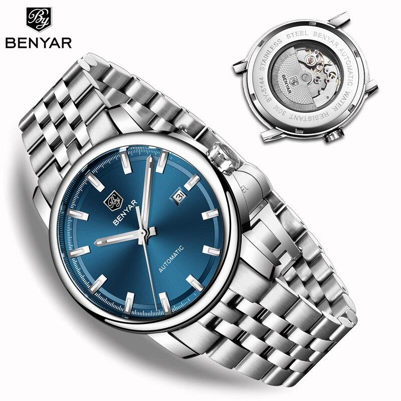 Nouveau BENYAR hommes montres mécaniques automatiques hommes montres Top marque de luxe montre hommes montre-bracelet militaire Relogio Masculino 2019