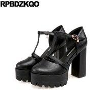 Sandals Round Toe T Strap Platform Shoes Big Size Women 11 43 High Heels Fetish Thick Black Gothic Ultra Punk Pumps 10 42 Bar
