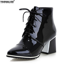 Europe Patent Leather Mid-Calf Black White women fashion botas femininas,new 2015 winter woman Lace-Up sexy Pointed Toe boots