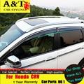 Rain shield a & t estilo del coche para honda crv 2015 2016 honda crv coche de engranajes barómetro decorativo ventana de coche tira de la decoración Accessor