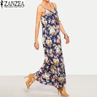 Plus Size S 5XL ZANZEA Women Summer Strappy O Neck Pockets Sundress Boho Floral Party Beach