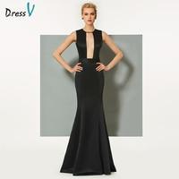 Dressv Black Long Evening Dress Elegant Scoop Neck Hollow Mermaid Zipper Up Wedding Party Formal Dress