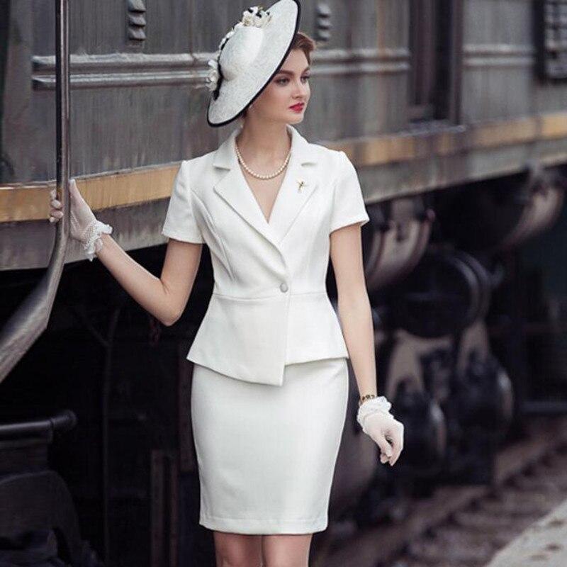 Женский комплект с юбкой, офисный костюм из 2 предметов, офисный костюм с коротким рукавом, офисная одежда, 2019