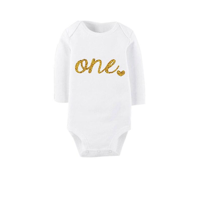 Culbutomind 2017 Moda Branco e Dourado 1st Aniversário Terno Do Corpo Do Bebê, unisex Algodão de Manga Curta O Pescoço Meninas Do Corpo de Um Aniversário