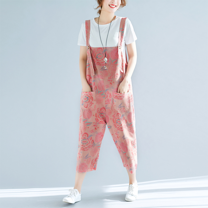 Women Plus Size Jumpsuits Harem Pants Vintage Loose Thin Spring Summer New Oversized Female Print Floral Pink Girls Trousers