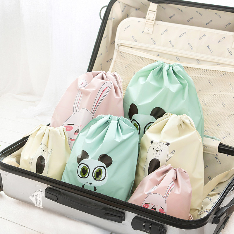 Waterproof Cartoon Organizer Clothes Packing Drawstring Bag 3 Sizes Travel Pouch Suitcase Shoes Underwear Travel Storage Bag