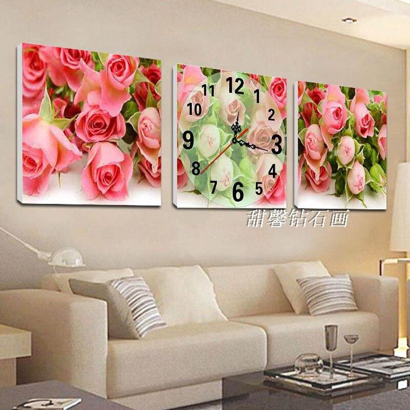 3 pièces Forage Carré, Plein de Diamants Peinture, Rose Roses, Fleurs, 5D, bâtons Forage Point De Croix Avec L'horloge, Mosaïque Mur Horloges