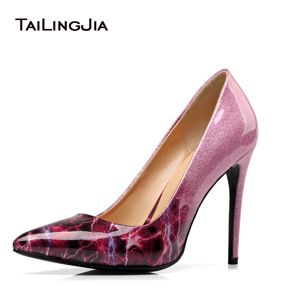 Women High Heel Patent Leather Pumps Pointed toe Dress Heels Stiletto Court Shoes Large Size Wholesale Heel Height 10.5cm shinny patent leather high platform stiletto buckle strap women sandals party dress nude black lady pumps high heel dress shoes