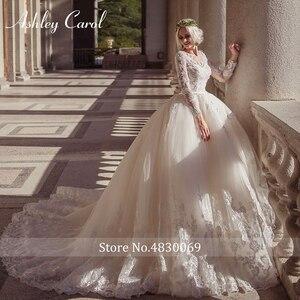 Image 5 - Ashley Carol Lace Ball Gown Wedding Dress 2020 Sexy Scoop Long Sleeve Beading Luxury Princess Bridal Dresses Vestido De Novia