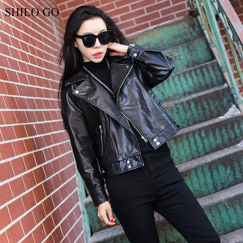 SHILO GO Leather Jacket Womens Spring Fashion sheepskin genuine leather Coat button lapel collar zipper concise locomotive coat