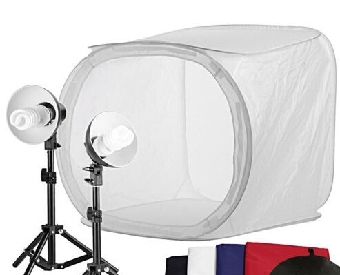 Photo Studio Shooting Tent Light Cube Diffusion Soft Box Kit with 4 Colors Backdrops (Red Dark Blue Black White) for Photography