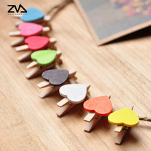 10 pcs/lot Cute multicolor Love Heart spring Wood Clip Photo Clips For Clothespin Craft Clips Party decoration Clip Hemp Rope 30pcs box cute fox chicken wooden clip photo paper clothespin craft clips party decoration clip with hemp rope