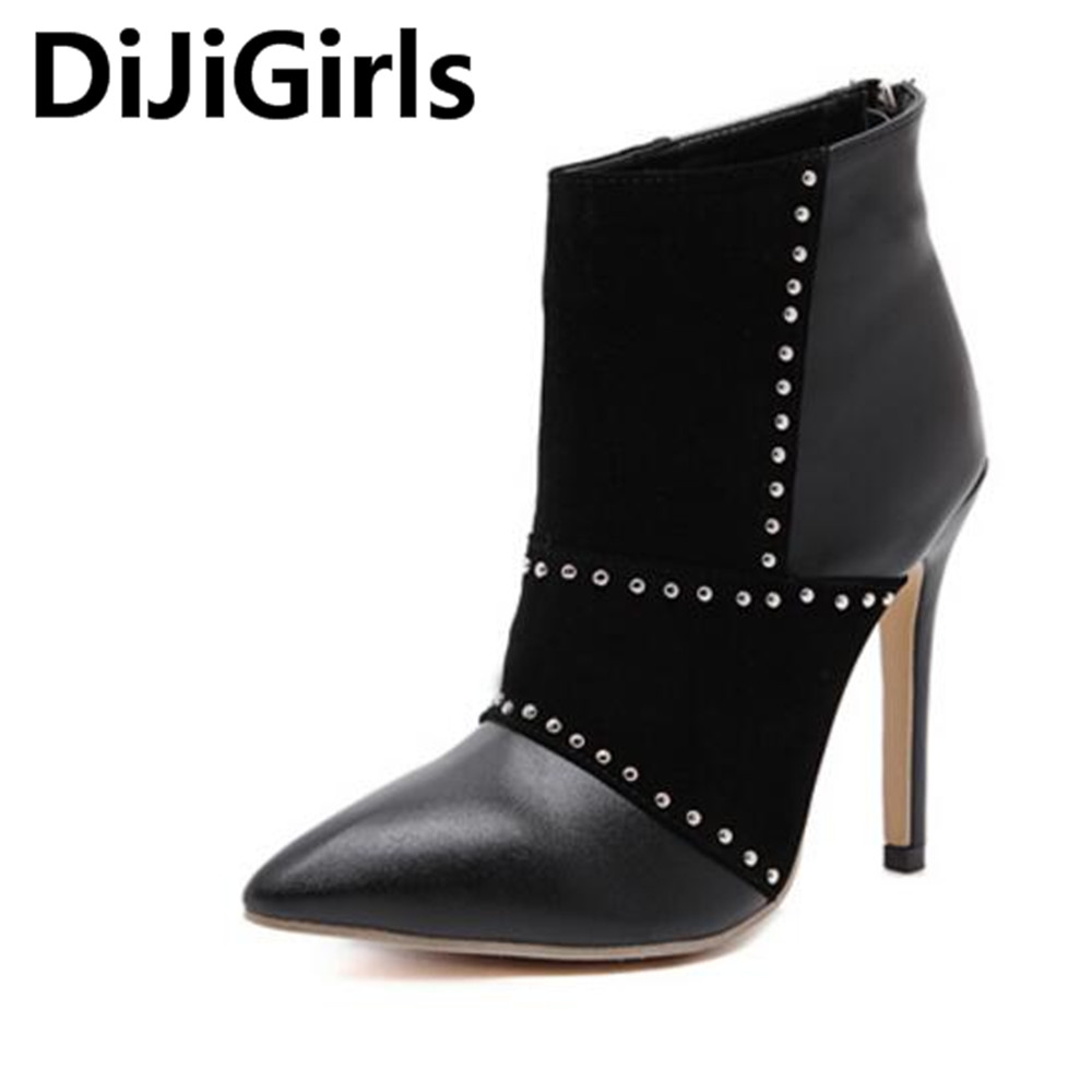 DiJiGirls New Fashion Pointed Toe Women Boots 2017 High Heels Ankle Boots  Brand Women Shoes Autumn Winter Botas Mujer new brand spring autumn women pumps shoes luxury high heels pointed toe fashion rivets ankle boots women shoes free shipping