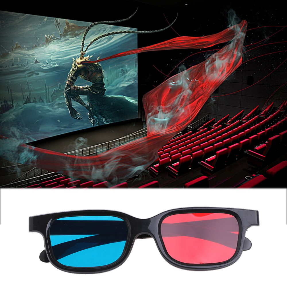 Fashion Universal Black Frame Red Blue Cyan Anaglyph 3D Glasses 0.2mm For Movie Game DVD