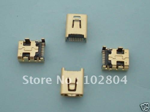 100pcs Gold B Type Mini 8pin USB Female Jack SMT Socket Connector for Digital