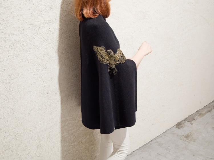 Чесанф осень зима Подиум черный серый вышитый бисером пончо и накидки-пуловеры вязаный шерстяной свитер женское рождественское пальто