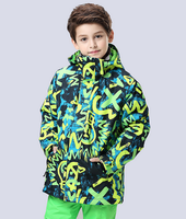 Boys Ski Jacket Green Yellow Doodle Male Child Teenage Outdoor Sports Jacket Snowboarding Skiing Coat Waterproof