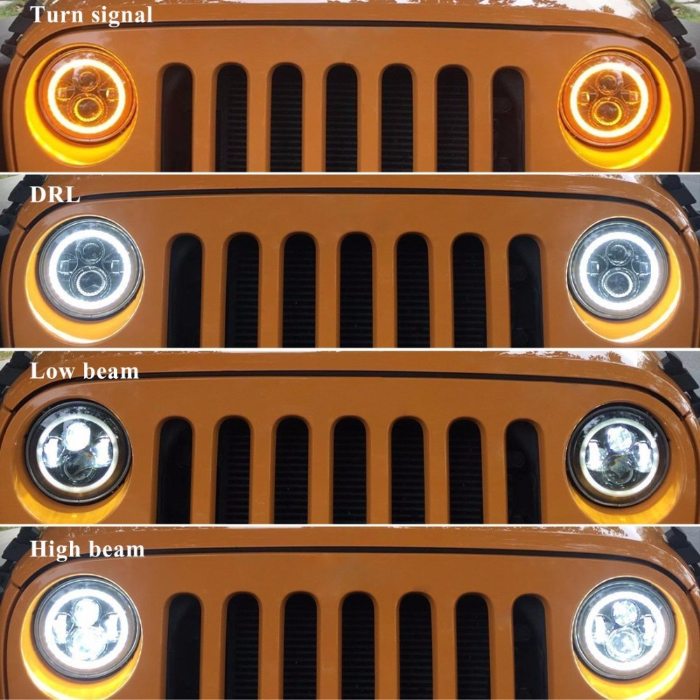 7 Inch 80W Led Angel Eyes Daymaker Motorcycle Headlight H4 DRL Halo Angel Eye For Jeep Wrangler JK Harley 7 inch Plug and Play