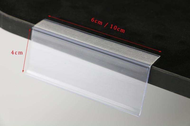 Plastic PVC L Data Strips Adhesive Tape Mechandise Price Tag Display Shelf Talker Sign Label Card Holder Supermarket Rack 50pcs