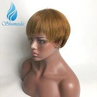 SHUMEIDA человеческие волосы на кружеве парики remy волосы бразильский кружевной парик для черных женские короткие парики 150% цвет коричневый пар