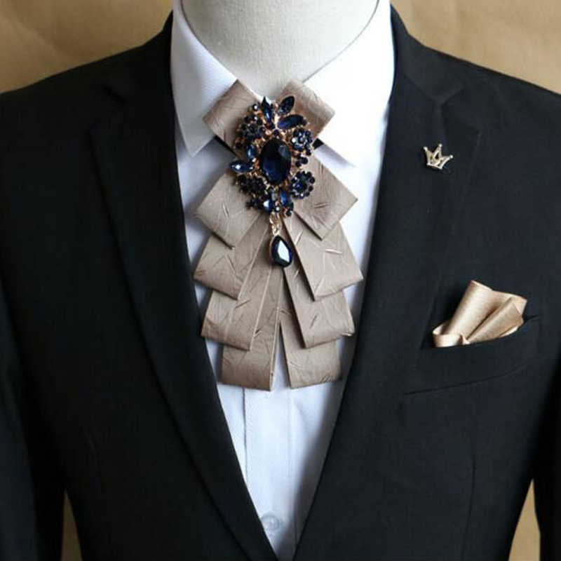 Vintage Men\u0027s Ribbon best man suit accessories Crystal Stones Ties suit  tide collar flower male Bridegroom Wedding Brooch Pin