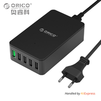 ORICO QSE-5U 5 Ports QC2.0 Quick Charger 5V2.4A/9V2A/12V1.5A Desktop USB Charger Compatible for Almost Smart Phones Black