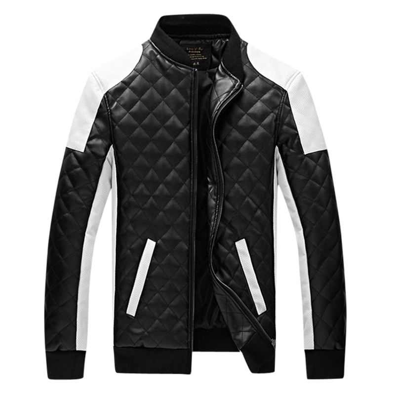 2018 New Design Mens Jackets Winter&Autumn Black&White S M L XL 2XL 4XL 5XL Fashion Slim Plaid Stitching PU Leather Man Coats