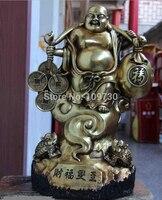 001835 16 Temple Copper Bronze Gild Lucky Money Coin Wealth Toad Maitreya Buddha Statue
