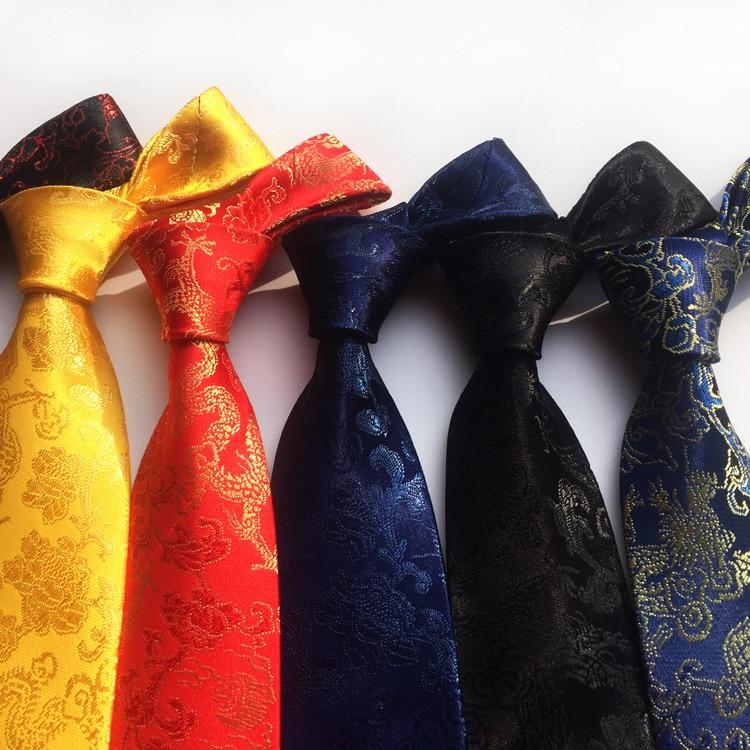 2019 New Arrival New Design Brocade Fabric Festive Chinese Dragon Pattern Wedding Tie Groom Tie Red Black Wine Pink Brown Tie