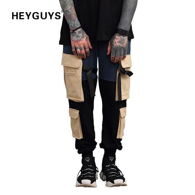 HEYGUYS 2018 fashon Fitness bolsillos pantalones largos hombres Casual  Sweatpants holgados Jogger pantalones moda ajustada streetwear 69699099818