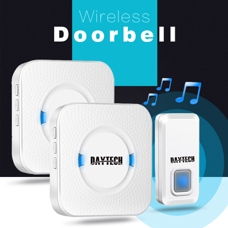 DAYTECH Doorbell Wireless Waterproof Door Bell 2 Plug-in Receiver 1 Push Button Remote control long range 300M area LED DoorBell wireless home security door bell call button access control with 1pcs transmitter launcher 1pcs receiver waterproof f3310b