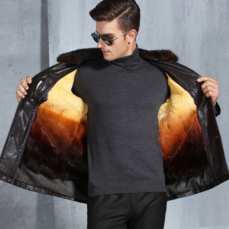 Luxury Handsome Men s Clothing Black Coffee Leather Warm Winter Jacket Rabbit Fur Inside Mink Collar
