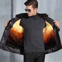 Luxury Handsome Men's Clothing Black/Coffee Leather Warm Winter Jacket Rabbit Fur Inside Mink Collar jaqueta couro, M-XXXXL