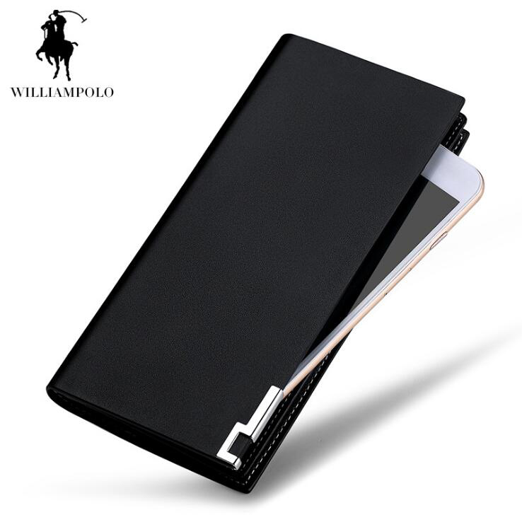 WilliamPOLO Men Wallets Genuine Leather Wallet Corss Pattern High Quality Hand bags