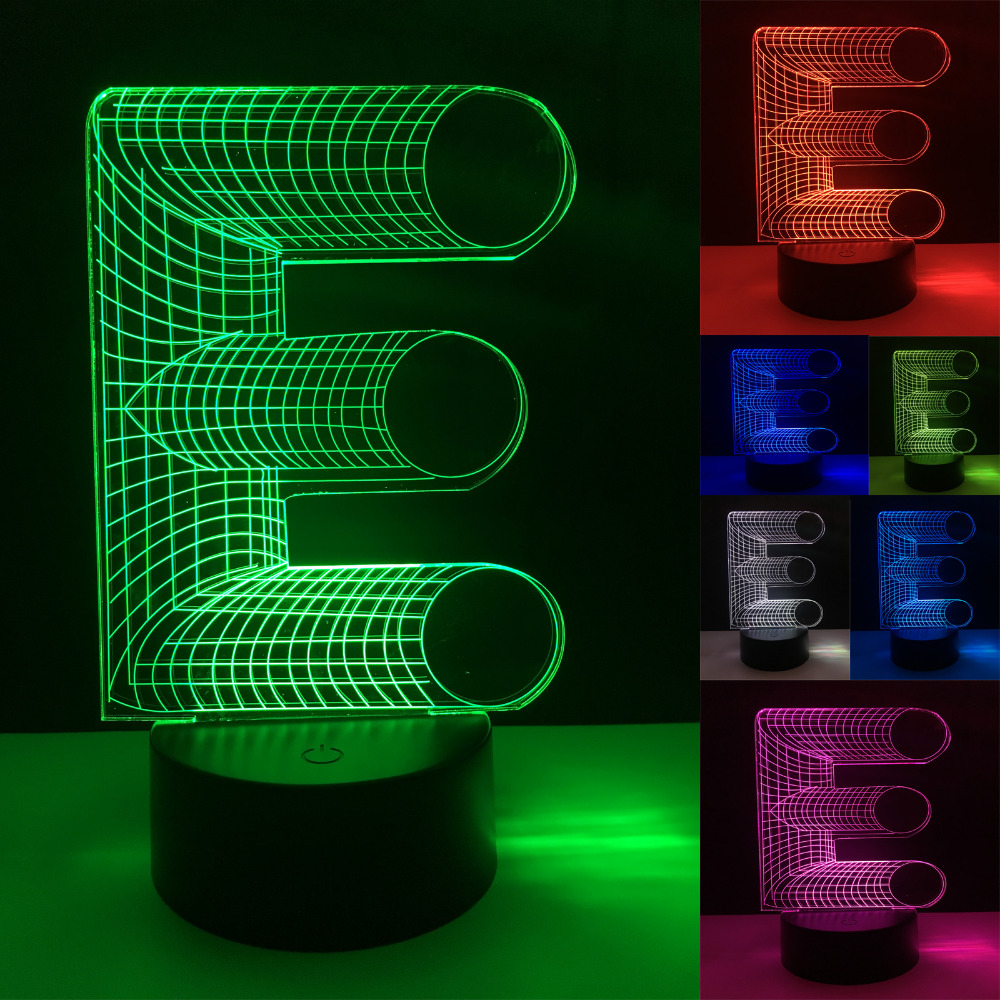 New Creative 3D Lighting Alphabet Letter E USB 7 Color Changing Table Led Night Light Home Bedside Decor Chriatmas New Year Gift