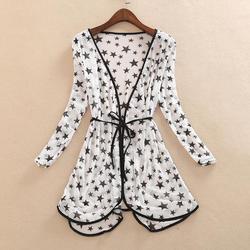Sweet star polka dot design long sleeve coat font b transparent b font open front style.jpg 250x250