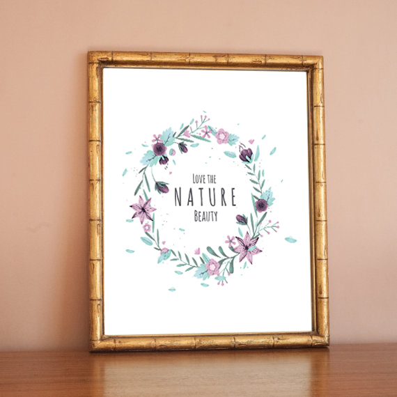 Watercolor Nature Quote Canvas Art Print Poster Wall Pictures For