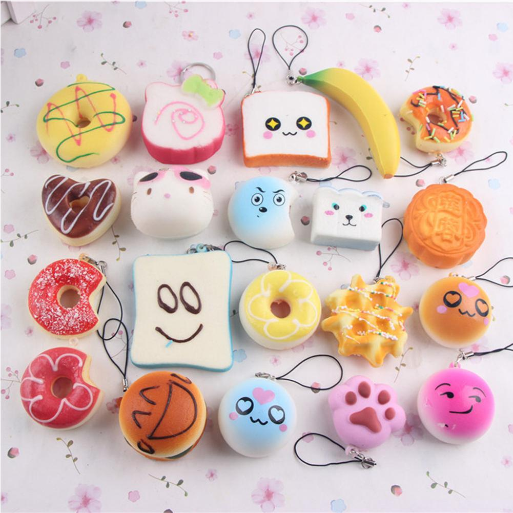 10pcs/Set Small Soft Squishy Foods Cute Doughnuts Cakes Breads Handbag Pendant Buns Phone Straps Decoration Random Delivery