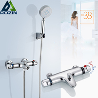 Wall Mount Thermostatic Shower Faucet Mixers Chrome Dual Handle Bathroom Hand Held Bath Shower Taps
