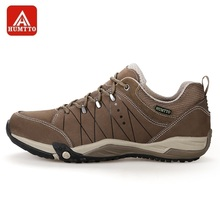 HUMTTO Mens Walking Shoes Lace-Up Male Sneakers Trevaling Camping Massage Genuine Leather Low Sports Shoes