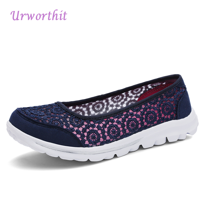 Urworthit 2018 Summer Casual Women Flat Platform Shoes Woman  Air Mesh Breathable Print Flats Slip On Fabric Shoes Zapatos Mujer vintage women flats summer new soft canvas embroidery shoes casual slip on bow dance flat sandals for woman zapatos mujer