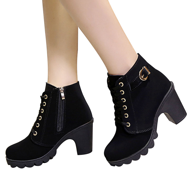 VTOTA Autumn Women Boots High Heels Ankle Boots With Thick Botas Femininas 2018 Leather Boots Buckle Ladies Shoes Woman H131 in Ankle Boots from Shoes