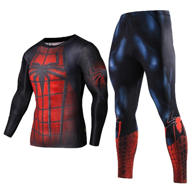 New 2017 Fitness Men Sets Spiderman Compression Shirts + Leggings Base Layer Crossfit Brand Long Sleeve T Shirt Clothing