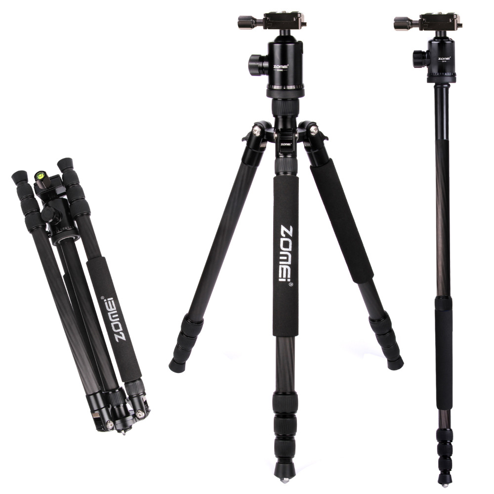 DHL Free Shipping Zomei Z888C Black Carbon Fiber Tripod Monopod For DSLR Camera & Ball Head Quick Release Plate With Tripod Case