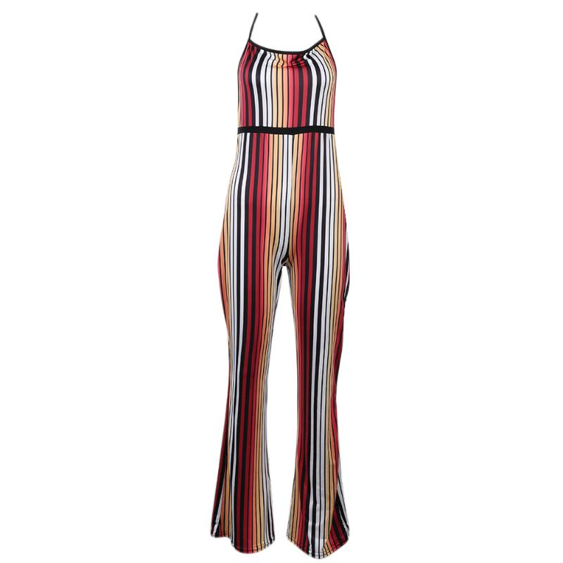 European Style Women Jumpsuits Sexy Stripe Printed Stylish Soft Romper Jumpsuit Novelty Sleeveless Halter Backless Overalls