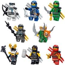 2018 pcs NOVO 8 Compatível LegoINGlys NinjagoINGlys Nya Harumi Lloyd Cole Jay Kai Zane Samurai X Modelo Blocos de Construção Figura brinquedos