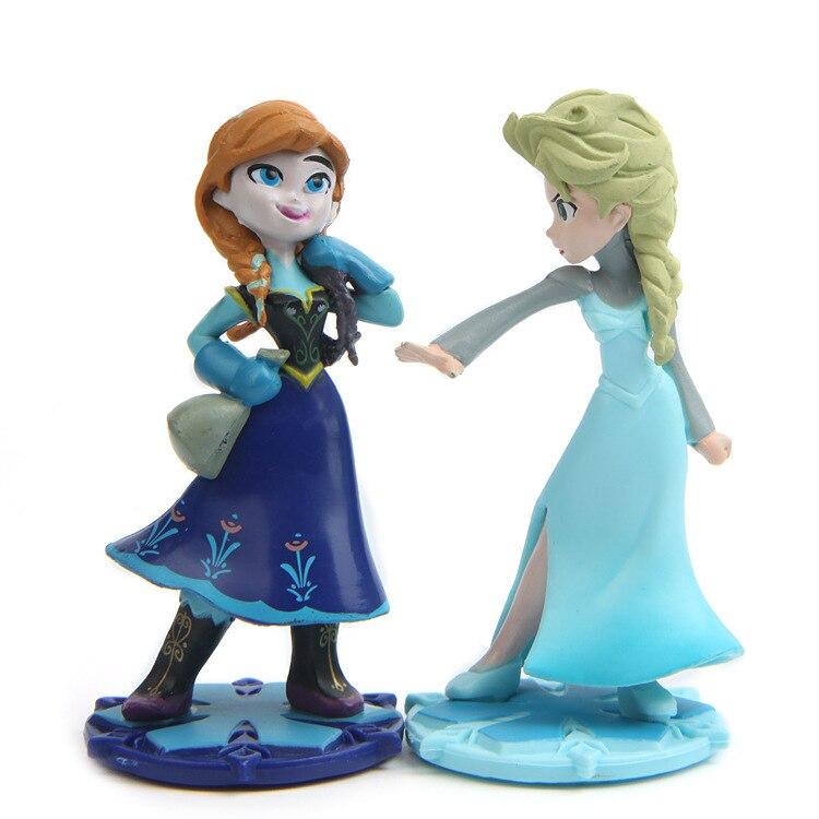 Magic Clip Dolls Dress Magiclip Princess Figurines Elsa Anna PVC Action Figures Kids Toys birthday Cake Decorating Supplies