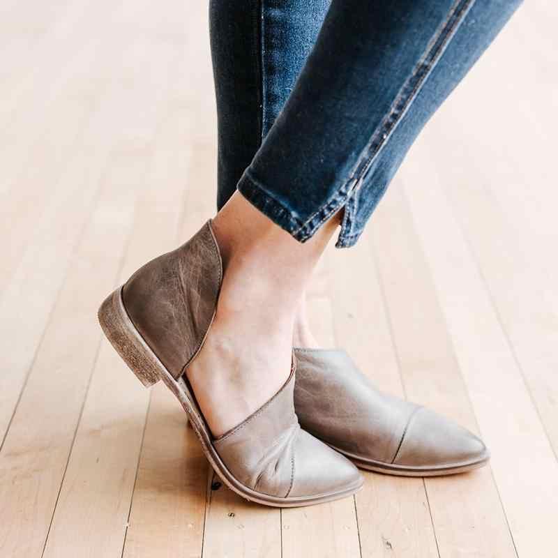ยุโรป 2019 ใหม่รองเท้าผู้หญิงปั๊มส้นรองเท้าแฟชั่นผู้หญิงชี้นิ้วเท้าส้นขนาด 35-43